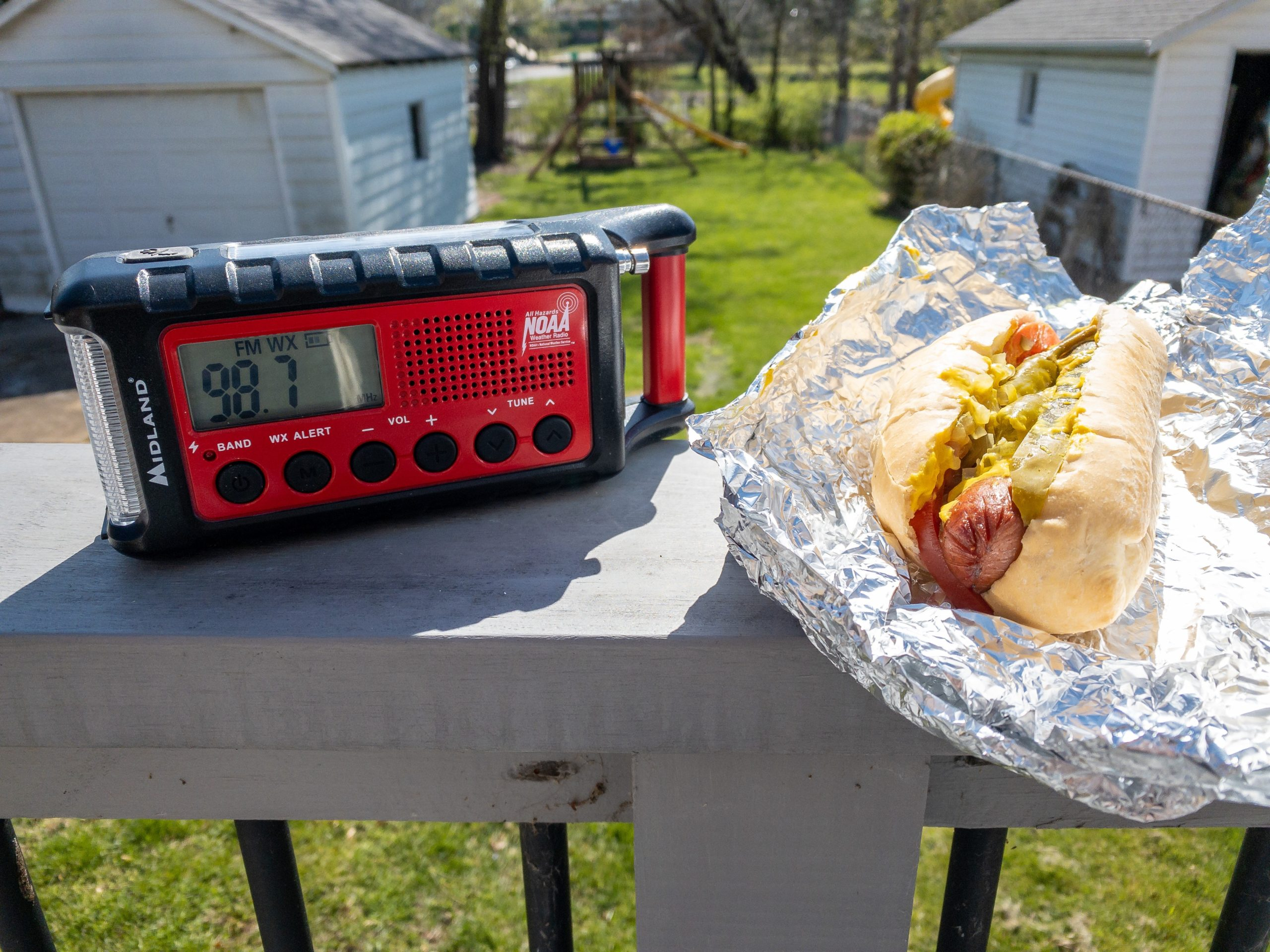 Chicago Dog and a  radio