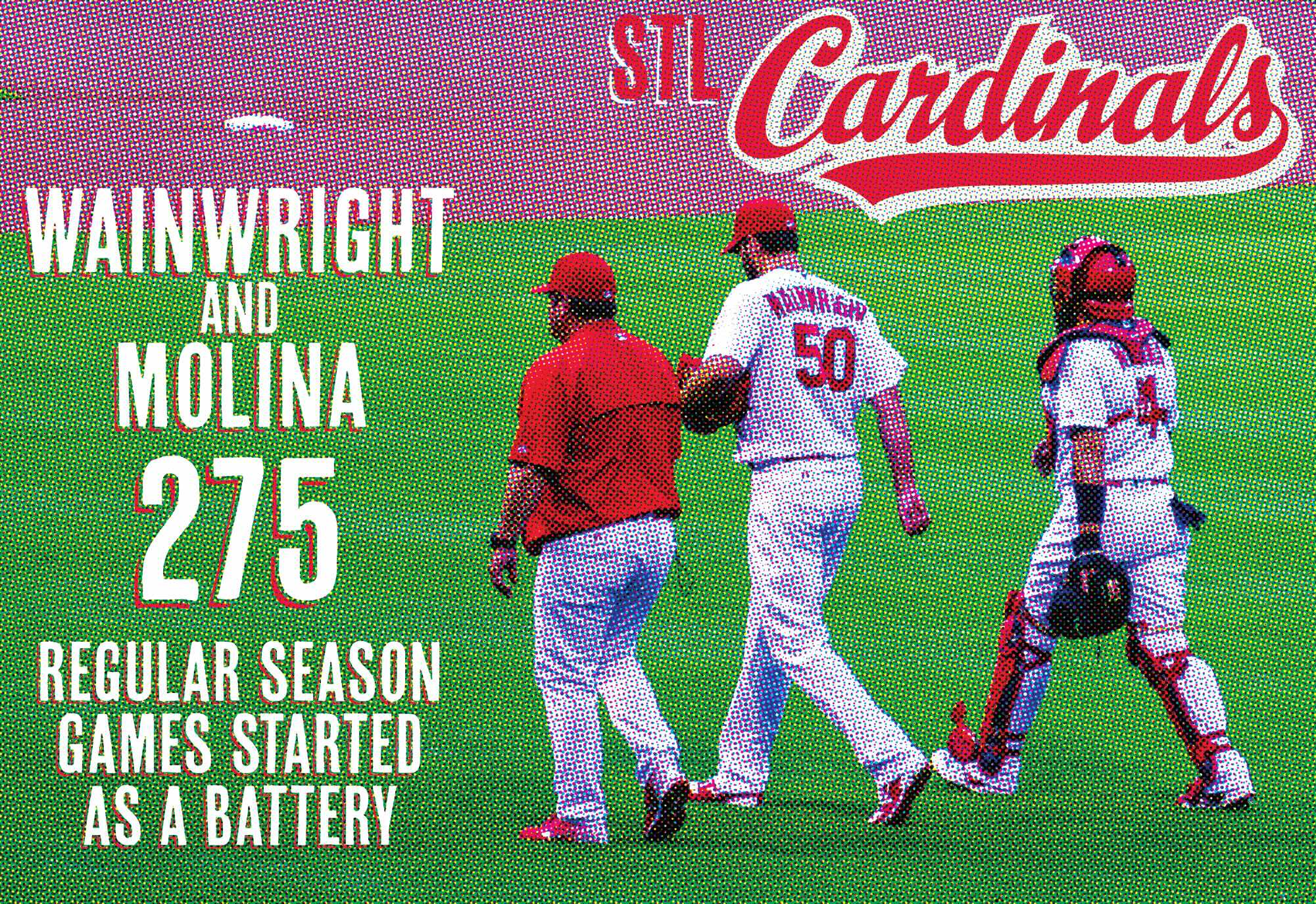 An image of Adam Wainwright and Yadier Molina walking on a baseball field with the text