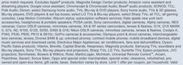 A screenshot of 16 lines of text excluding types of products from a Best Buy promotion.